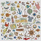 Marine nautical hand vector symbols and objects Stock Images