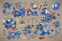 Marine nautical hand vector symbols and objects Stock Photo