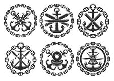 Marine and nautical heraldic anchor vector icons stock illustration
