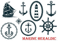 Marine and nautical heraldic elements Stock Photo