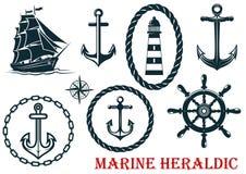 Marine and nautical heraldic elements Stock Photo