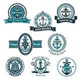 Marine and nautical heraldic vector icons set Stock Photo