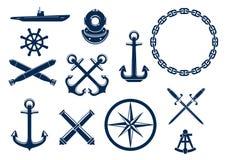 Marine and nautical icons set Stock Photo