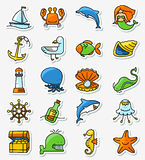 Marine and nautical icons set in line thin and simple line style royalty free illustration