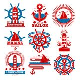 Marine and nautical logo templates or heraldic symbols. Vector isolated icons of ship anchor, helm and captain spyglass, sailing lighthouse or life buoy and Royalty Free Stock Photo