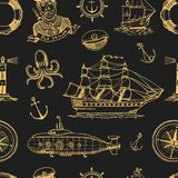 Marine and nautical or sea, ocean emblems. seamless pattern. set of engraved vintage, hand drawn, old, labels or badges. For a life ring, a cannon ball, a Royalty Free Stock Images