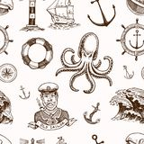 Marine and nautical or sea, ocean emblems. seamless pattern. set of engraved vintage, hand drawn, old, labels or badges. For a life ring, a cannon ball, a Royalty Free Stock Photos