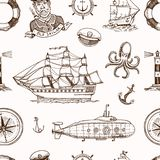 Marine and nautical or sea, ocean emblems. seamless pattern. set of engraved vintage, hand drawn, old, labels or badges. For a life ring, a cannon ball, a Royalty Free Stock Photography