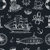 Marine and nautical or sea, ocean emblems. seamless pattern. set of engraved vintage, hand drawn, old, labels or badges. For a life ring, a cannon ball, a Stock Photo