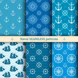 Marine, nautical, sea vector seamless patterns set Stock Photography