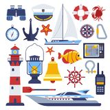 Marine and nautical vector flat icons. Isolated symbols of sailor ship anchor and helm, captain hat and lighthouse, sailboat and lifebuoy, seafarer boat and Royalty Free Stock Photos