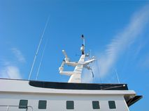 Marine navigation equipment, modern communication mast. Marine navigation equipment. Communication mast of modern yacht with set of antennas, navigation lights Stock Images