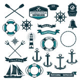 Vector nautical heraldic icons of seafarer sailing Royalty Free Stock Images