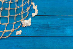 Marine Network och skal på blåa bräden Royaltyfria Bilder
