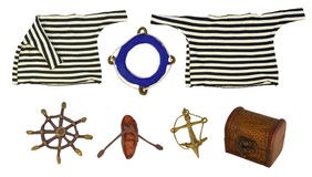 Marine objects isolated set Stock Images
