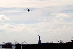 Marine One VH-3D auf Annäherung für den Wall Street-Hubschrauber-Landeplatz Lizenzfreie Stockfotografie