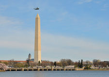 Marine One and Washington Monument Stock Images