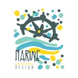 Marine original logo design, summer travel and sport hand drawn colorful vector Illustration. Badge for yacht club, sailing sports or marine travel Stock Photos