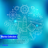Marine outline icons set over blurred shining Stock Images