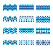 Marine, overzees, oceaangolven vectorreeks royalty-vrije illustratie