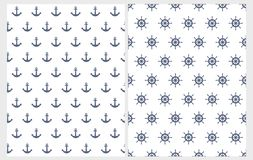 Lovely Nautical Vector Patterns Set. Navy Blue Anchors and Helms Isolated on a White Background. stock illustration
