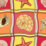 Marine patchwork seamless pattern. With ropes, starfish and seashells Stock Photos