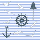 Marine pattern. Vector illustration for graphic design, textile design or web design Stock Image