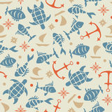 Marine pattern. Abstract pattern with marine life Royalty Free Stock Image