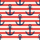 Marine pattern. Anchor, navy seamless pattern with stripes Royalty Free Stock Images