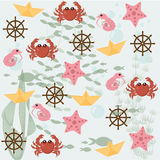 Marine pattern. Background starfish, helm, crab, silhouette fish, algae and water bubbles Stock Photos