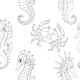 The marine pattern with crab and seahorses royalty free illustration