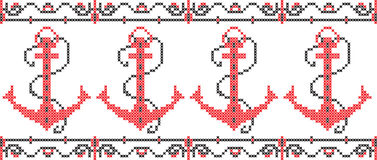 Marine pattern embroidered on a transparent background. Embroidered pattern on transparent background Ukrainian national pattern Stock Photos