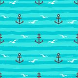 Marine pattern seamless Anchors gull icons and Stripes waves. Turquoise background, aquamarine vector Stock Image