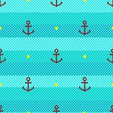 Marine pattern seamless Stripes waves and anchor icon. Turquoise background Stock Photo