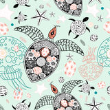 Marine pattern of skulls and stars Stock Images