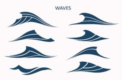 Marine pattern with stylized blue waves on a light background. W Stock Image