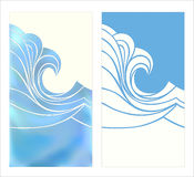 Marine pattern with stylized blue waves in vintage style. Phone case design with colored print. Marine pattern with stylized blue waves in vintage style Stock Photography