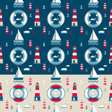 Marine pattern with yacht Royalty Free Stock Photos