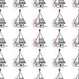 Marine pattern yachts silhouette on wave. royalty free illustration