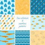 Marine patterns collection 2. Colorful collection of 8 marine seamless patterns Stock Photography