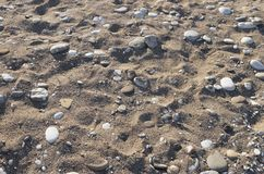 Marine pebble, tiny stones and shells as a natural background of. The beach floor on a sunny day, perspective view royalty free stock photo