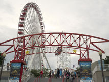 Marine Pier Ferris Wheel Lizenzfreie Stockbilder
