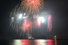Marine Pier Fireworks Images stock
