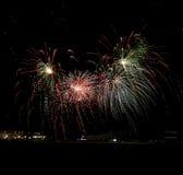 Marine Pier Fireworks Stockbild