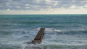 Marine Pier, Sturm stock video