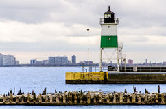 Marine Pier Watch Tower le long du lac Michigan latéral Photographie stock