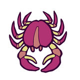 Marine pink crab stylized vector illustration Royalty Free Stock Photos