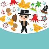 Marine pirate card banner design copy space, pirate boat with sail, gold coins crab octopus starfish island with palm trees anchor. Compass anchor helm Royalty Free Stock Photography