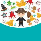 Marine pirate card banner design copy space, pirate boat with sail, gold coins crab octopus starfish island with palm trees anchor. Compass anchor helm Royalty Free Stock Image