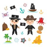 Marine pirate card banner design copy space, pirate boat with sail, gold coins crab octopus starfish island with palm trees anchor. Compass anchor helm Royalty Free Stock Photos